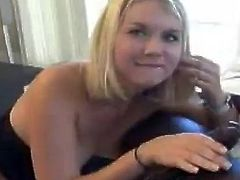 Watch this slutty blonde riding this guy's black monster cock after sucking on it like her life depended on it.