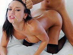 Busty pornstar in sexy stocking gets her wet vag nailed in pure hardcore porn