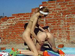Two slim teens go wild outdoor. they use dildo toy to satisfy each others snatches. Enjoy one another hot teen movie from Seventeen Video porn site.