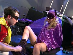 When Batman is not around Robin takes care of the city and Batgirl's pussy. Yeah, he pounds her deep and hard teaching her how superheroes fuck! The smoking hot blonde chick doesn't reveals her true identity and neither does Robin, but she reveals her cock sucking skills and that tight pussy!