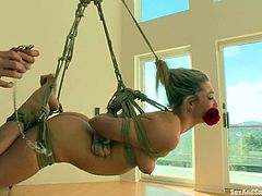 Superb blonde girl gets fucked deep and hard in her ass on the stairs. After that she gets tied up and suspended. Then she sucks a cock and gets tortured with clothespins.