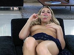 Voluptuous blonde with big tits amazes with her staggering solo masturbation show