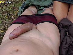 Sweet Melissa was just walking in a forest and accidently met a stranger.With a big delectation she opened his pants and with a cute smile started to suck his amazing limb.Watch this sex tube video.