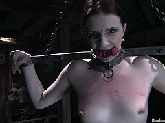 Kinky bitch with pierced pussy gets tied up. After that the guy puts a gag in her mouth and toys both her holes.