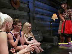 Ariel X, Lorelei Lee and their blonde GF are having fun with some Asian girl in a basement. The bing the chick, play with her pussy and then humiliate and torture her in many ways.
