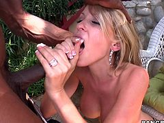 Watch this smoking hot blonde having an amazing time in this hardcore interracial scene where she's pounded by a monster black cock.
