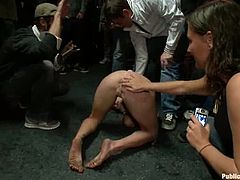 Kinky Audrey Hollander sucks big dicks passionately. Later on she gets double penetrated on the eyes of a crowd.