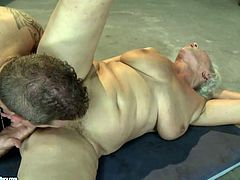 Immense mature BBW gets her hairy wet pussy fingered by young lover before he sticks his petite penis inside for a fuck in missionary style later switching to doggy position.