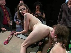 Chubby whore Alexxa Bound is having fun with Barry Scott and his lewd friends. She shows her holes to the guys and lets them do all what they want.