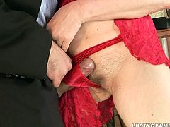 Peppering brunette mature gets lured by experienced fucker. He takes off her clothes before he reaches her hairy pussy to give it a tongue fuck in close up sex scene by 21 Sextury.