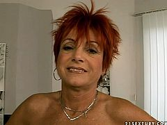 Dirty mature woman takes off her clothes exposing small saggy tits and shaved pussy. She poses in front of cam wearing just black nylon stockings. Then she gives young stud solid blowjob demonstrating her awesome skills. Later, granny gets her pussy fingered.