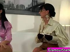 Clothed euro lesbo finger hard through pantyhose and love it