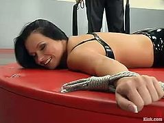 The nasty German slut Katja Kassin is getting a hardcore domination and bondage anal fuck where she's tied up, toyed and banged hard.