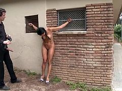 Lara Tanelli the sexy babe with pigtails walks naked in the street. After that she blows dicks and gets pounded rough.