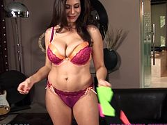 Curvy brunette milf Raylene takes her lingerie off and demonstrates her big natural tits and ass to the guy. Then she kneels in front of him and begins to suck and rub his schlong.