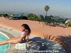 What else would you do when you saw a nubile young babe like Mika Brown around your swimming pool? especially when she was dressed in a tiny bikini that showed off her nubile body? get her to suck your cock, of course! This excellent coed sex video starts off with mika on her knees sucking the cock of stud Michael Stefano outdoors. She sure knows how to polish that pole! Michael leads her inside, intent on giving her a damn good pussy thrashing. In the upstairs bedroom, he spreads her legs and feeds her the dick, and you'll love watching it disappear inch by inch in to her moist hole. She begs