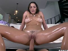 THis sexy and petite honey Lili Love oils herself up and goes for that thick cock! babe loves sucking and then getting pumped!