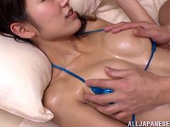 She comes in the room in her sexy and tiny bikini. Honey oils herself and her man up to have that wild slippery sex, riding and sucking him!