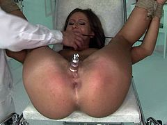Dude, you're more than welcome to enjoy this hot like hell 21 Sextury xxx clip. Horny booty brunette is tied up with ropes in the hospital. Spoiled man pleases her wet pussy with vibrator and bites her pussy lips.