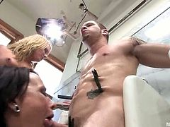 This guy gets tortured and dominated by Dana DeArmond and Flower Tucci in this femdom video where at least they had the decency of sucking his dick.