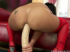 SABRINA SWEET stuffs her ass hole with giant dildo