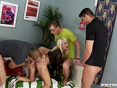 Lusful blonde chick Lena Cova is having fun with four dudes. She shows them her cock-sucking skills and then allows the studs to double penetrate her.
