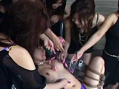 Japanese slave gets tied and toyed by her horny mistresses. There is nothing else she can do but moan for so much pleasure.