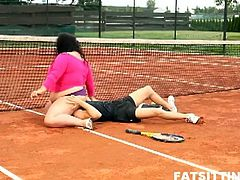 Extra large brunette dominates and facesits her tennis teacher on the tennis court outdoors and smothers him with her plumper pussy with action that lasted till dark and she scores the win in this free tube video.