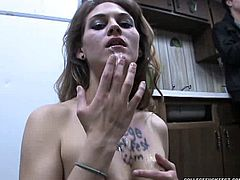 Sexy college babe is ready to give blowjob to all fellows. She sucks dick in public and opens her mouth hole to get a portion of her favorite cum delicacy.