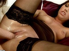 Mind taking brunette hottie lies on her back with legs spread aside while a slender chic fists her moist fresh cunt in close up sex video by 21 Sextury.