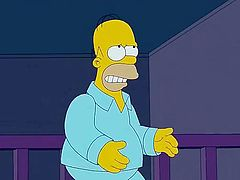 Homer has had a hard day at the nuclear power plant and when he comes home to Evergreen Terrace all he wants to do is fuck his hot wife Marge. Bart is being distracted by Jimbo so there's no one to interrupt them. Homer enters the bedroom which looks like a island paradise and Marge gives him head.