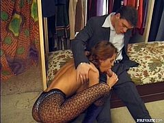 This gorgeous babe had a sweet talk with the owner of the store. He tells her that she deserve a discount and honey appreciates him with a blowjob.
