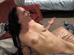 Tipsy and kinky pale college girl goes wild. Tipsy whore with small tits is ready to please dudes in one of the rooms and gets her wet cunt drilled missionary tough in Pornstar sex clip.