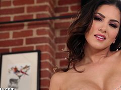 Sunny Leone is a mouthwatering brunette that will keep you glued to the screen. In this video she's stripping in her hot pink lingerie and shows us her beautiful pussy! Yummy!