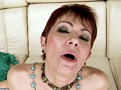 Well, this pallid short haired brunette with natural saggy tits and pale butt is fond of riding and sucking a stiff dick. Dirty like mud bitch likes feeling a deep cock penetration and moans madly of pleasure.
