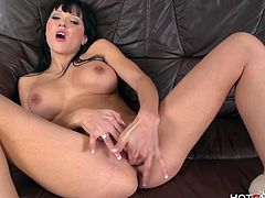 This European slut has big boobs and she loves to please her pussy with the hotgvibe. Watch her taking out Hot G Vibe vibrator ring for her clean tight pussy.Enjoy this hot brunette and her solo masturbating video with Hot G vibe toys.