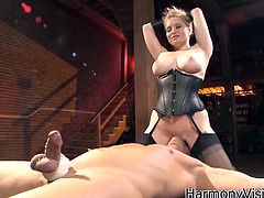 Clad in a sexy and body hugging corset, blonde hottie Aiden Starr  sit on her man's face to have her pussy licked then she goes on his lips to grind and bounce on his fat and hard boner.