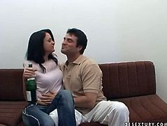 Sexy brunette girlfriend in tight jeans is drinking champagne and sucking cock of her horny boyfriend. She is drunk and she is ready to turn all his dirty desire into reality.