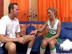 Naughty cheerleader Ally Kay went to the soccer coach room and started touching his cock then sucked him off like a real nympho!