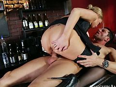 Busty bar woman Katie Kox rides Preston Parker's dick on the counter