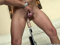 Ruined brunette mom stands still getting her punani dri