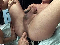 Aroused brunette shemale give face sitting to a rapacious dude who polishes her stiff cock and round balls. Later she sticks her hard cock into his anus for a hard anal fuck.