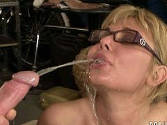 Strict looking ample blond MILF gets her pussy nailed missionary and doggy styles by aroused dad before she exposes her mouth for a shot of hot urine in perverse sex video by 21 Sextury.
