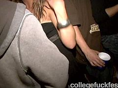 This sexy girl wearing ponytails is having much fun at the college party. She is such a hoe that she gives deepthroat blowjob she just met on a party. She is ready to do crazy stuff just to attract attention to herself.