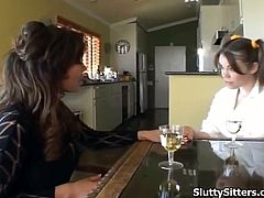 Watch how a sexy brunette babysitter gets seduced and fucked by a wild milf and her husband.