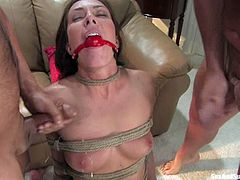 This slender and super hot brunette siren Herschel Savage is being tortured and humiliated by two men. They fuck her so hard, giving her some pleasant pain!