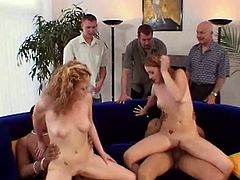 Are you a fan of swinger parties? Then this steamy Pornstar sex clip is surely for you. Spoiled pale blond and red heads go nuts about riding strong fat dicks for orgasm. Then bitches with natural tits kneel down and open mouths to be fed with gooey sperm.