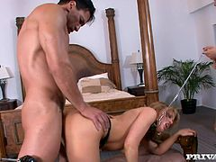 Holly Wellin allows busty brunette Jordan Jagger humiliate her in the living room. Then the bitches give a blowjob to some guy, ride his dick ardently and swap the jizz which they get.