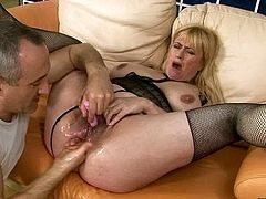 Just look at this sex-starved harlot, her hairy snatch looks really disgusting! Horny dude drills her tight butthole and pussy with sex toys simultaneously making her explode from a really powerful orgasm!