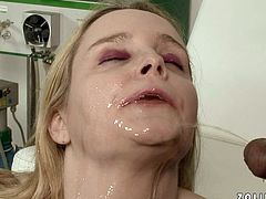 Dirty Caucasian slut is pleasing black Doc in the clinic. She blows him furiously. Blonde hooker produces much saliva while sucking hard dick so it is dripping down her chin. Later in the clip she has got the guy pissing on her face.